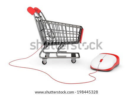 Online Shopping Concept. Shopping Cart connected to a Computer Mouse on a white background - stock photo