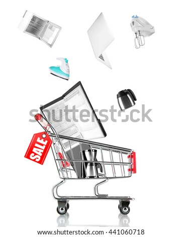 Online shopping concept, shopping trolley with household appliances, isolated on white