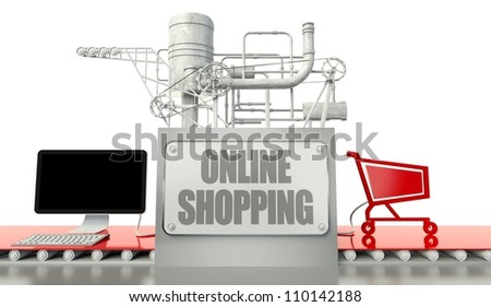 Online shopping concept with computer and cart - stock photo