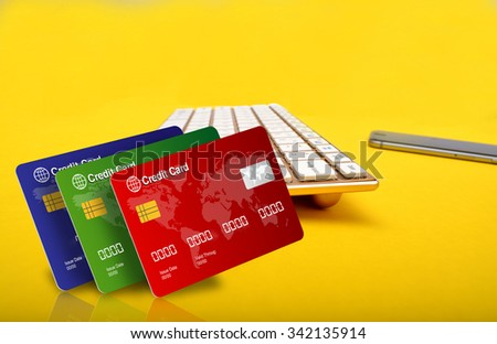Online Shopping concept with credit cards and smartphone