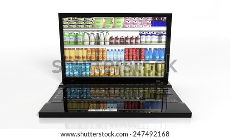 Online shopping concept with laptop and products on refrigerator shelves - stock photo