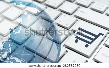 Online shopping concept with shopping cart symbol. - stock photo