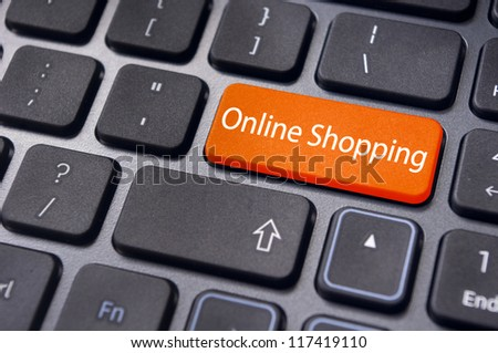 online shopping concepts with message on computer keyboard enter key. - stock photo