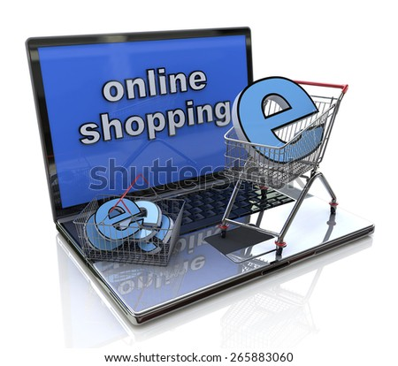 Online shopping 3d concept in the design of information related to trade on the Internet - stock photo