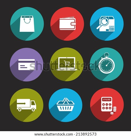 Online shopping delivery and c-commerce flat icons set isolated  illustration