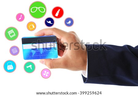 Online shopping. Hand holding credit card, isolated on white - stock photo