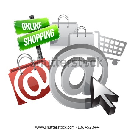 online shopping illustration concept over a white background - stock photo