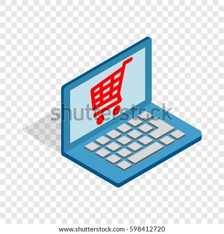 Online shopping in laptop isometric icon 3d on a transparent background  illustration