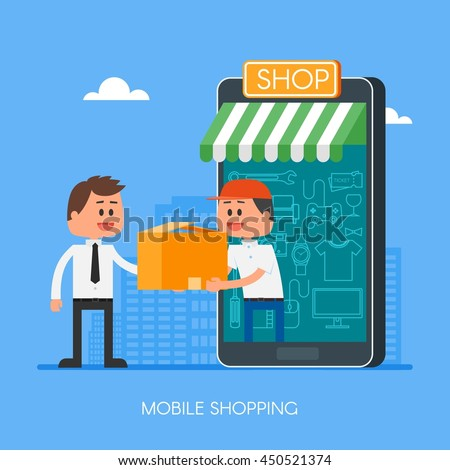 Online shopping on internet using mobile smartphone. Fast delivery concept illustration in flat style design. Courier stays in shop door that looks like phone and gives parcel to customer. - stock photo