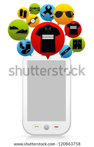 Online Shopping on Mobile Concept Present By The E-Commerce Icon For Men Fashion and Mobile Phone With Space for Text Message Isolated on White Background - stock photo