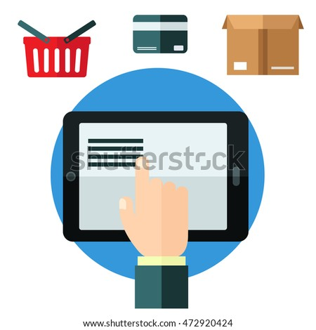 Online shopping or e-commerce concept in flat style with a man using a tablet with a basket, credit card and delivery carton above