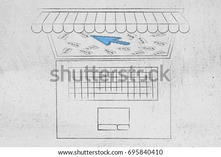line Shopping Sales Concept Laptop Shop Stock Illustration