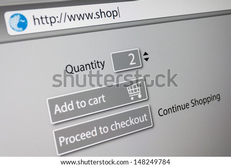 Online Shopping -  url of fictitious online shop in address bar of web browser - stock photo