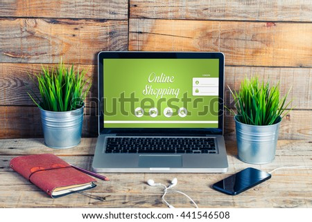 Online shopping website in a laptop screen. - stock photo