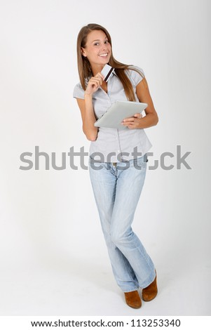 Online shopping with digital tablet - stock photo