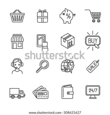 Online shopping worldwide delivery e-commerce outline icons set isolated  illustration
