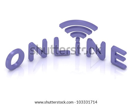 Online sign and antenna with lilac letters on white background - stock photo