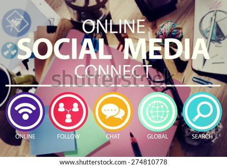 Online Social Media Connect Network Internet Concept - stock photo