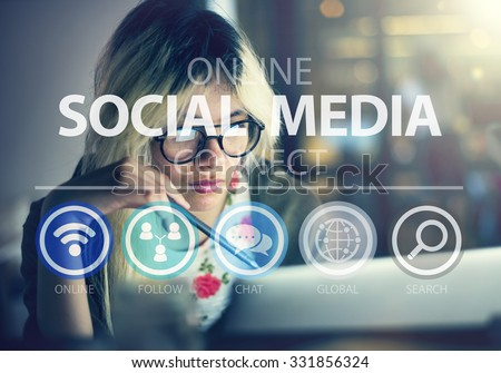 Online Social Media Networking Connnect Internet Concept - stock photo