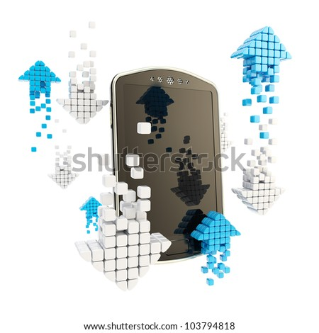 Online stock trading concept as mobile phone with arrow icons isolated on white - stock photo
