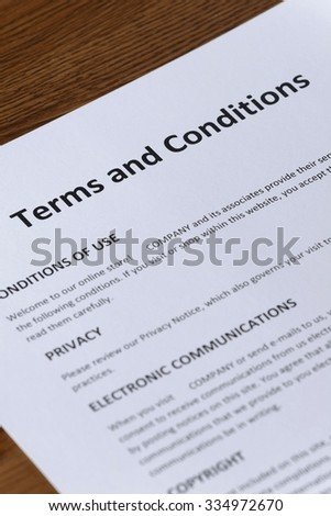 online store terms and conditions