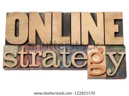 online strategy -isolated words in vintage letterpress wood type printing blocks - stock photo