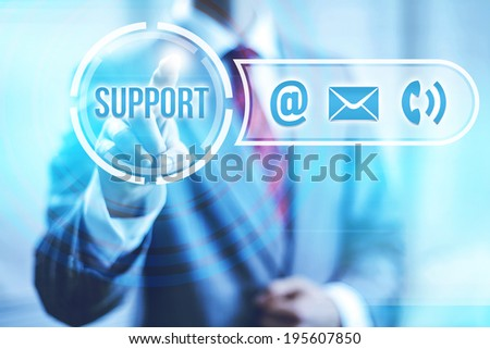 Online support and service concept pointing finger - stock photo