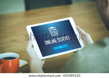 ONLINE SURVEY CUSTOMER SATISFACTION FEEDBACK CONCEPT - stock photo