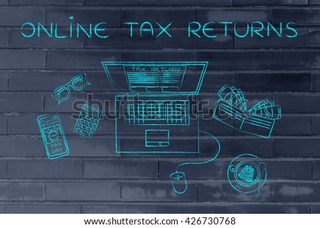 online tax returns: laptop with tax return page on screen, surrounded by office desk objects & smartphone with alert