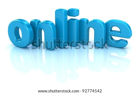 online text 3d over white background