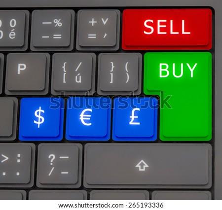 Online Trading Forex On Keyboard Buy Stock Illustration 265193336