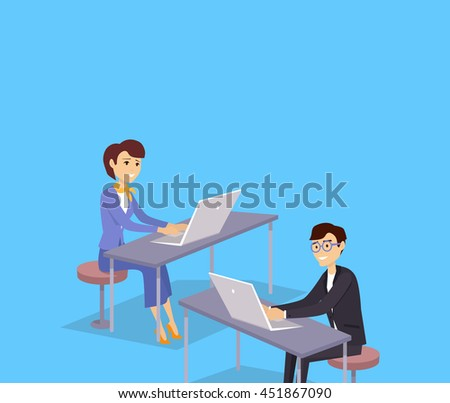 Online training banner design concept. Man and woman sitting with laptops and remotely study. Online training and education with technology network internet for business,  illustration