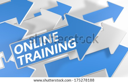 Online Training 3d render concept with blue and white arrows flying over a white background. - stock photo