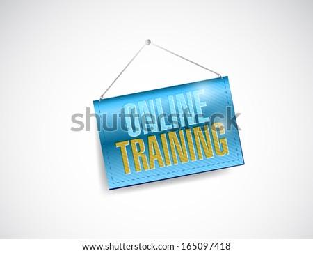 online training hanging banner illustration design over white - stock photo