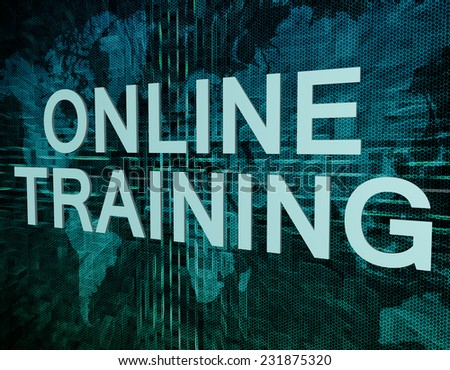 Online Training text concept on green digital world map background  - stock photo