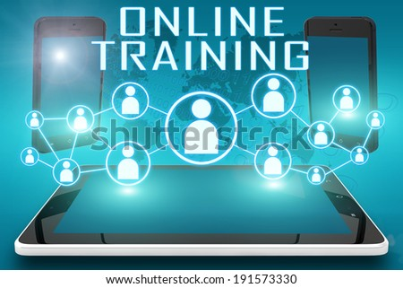 Online Training - text illustration with social icons and tablet computer and mobile cellphones on cyan digital world map background - stock photo