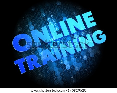 Online Training  - the Words in Blue Color on Dark Digital Background. - stock photo