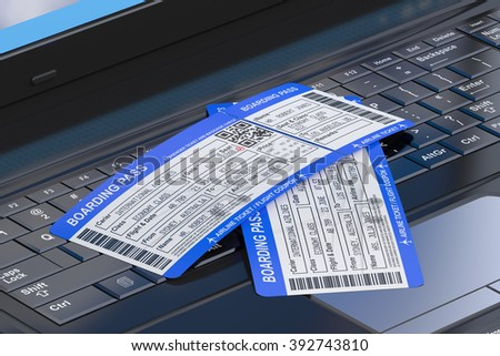 Online travel tickets booking on laptop - stock photo