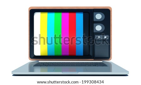 Online tv. Laptop with old-fashioned tv screen - stock photo