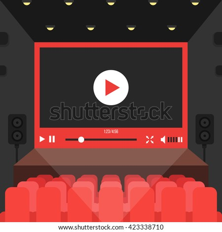 online video in cinema theater. concept of public auditorium presentation, entertainment, relaxing, conference, internet multimedia, projection. flat style trend modern design illustration - stock photo