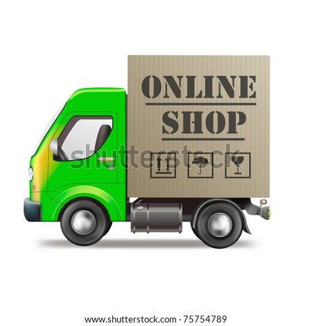 online web shop package delivery internet order shopping icon truck with cardboard box - stock photo