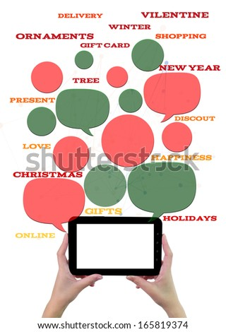 Online winter holiday shopping or shop business template. Hand holding tablet colorful bubbles/buttons floating of it with online shopping text. - stock photo