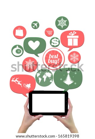 Online winter holiday shopping or shop business template. Hand holding tablet colorful bubbles/buttons floating of it with online shopping icons - stock photo