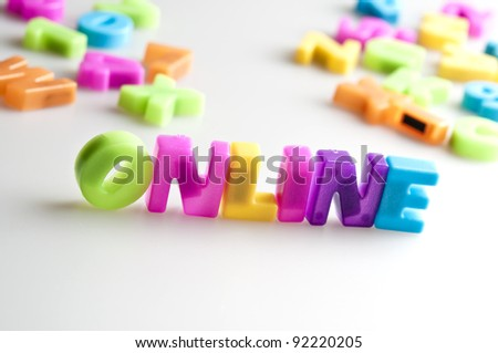 Online word made by color letters - stock photo