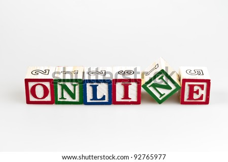 Online word made by letter blocks - stock photo