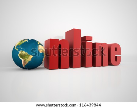 Online word with globe - stock photo