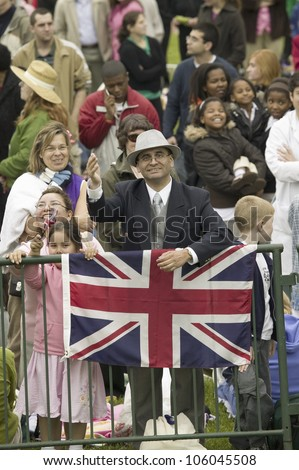 Onlooker displaying Union Jack British Flag near Virginia State Capitol in Richmond Virginia, as part of the 400th anniversary of the Jamestown Settlement, May 3, 2007 - stock photo