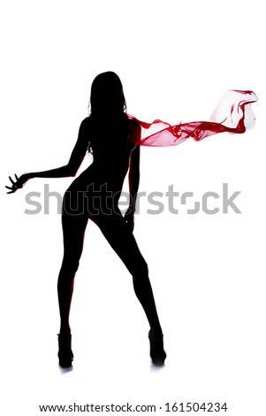 Only beautiful silhouette of a girl with ideal body holding pink scarf