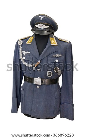 ONLY FOR HISTORICAL PURPOSES!! Germany at the Second World War. Uniform of staff sergeant of German Air Force ( Luftwaffe. The flight crew of  bomber). A similar form worn by parachutists. - stock photo