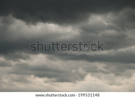 Only gloomy rainy sky with gray clouds - stock photo